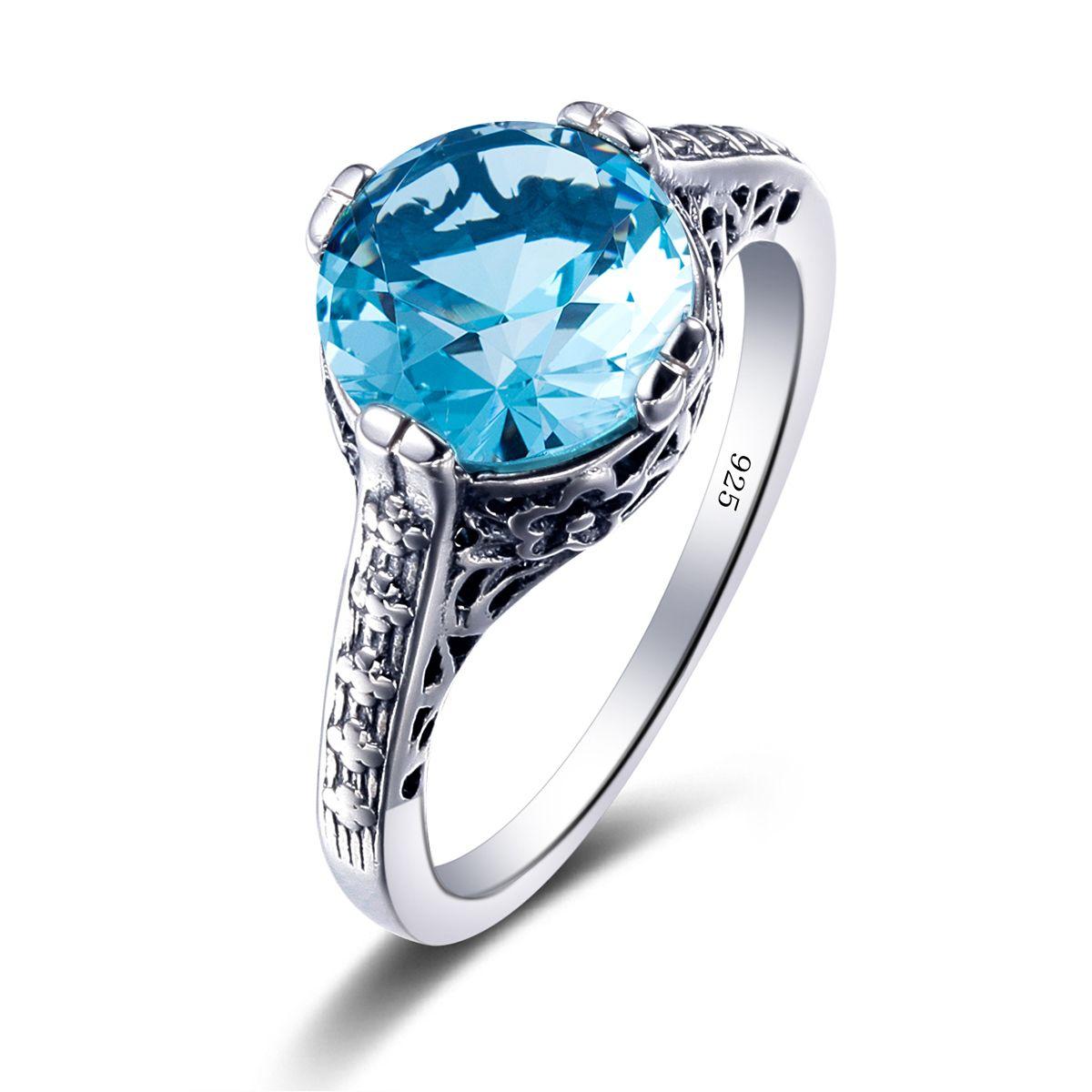 Винтаж стерлингового серебра 925 коктейль кольцо Богемия резные База CZ создания ruby камень Аквамарин Для женщин Вечеринка палец кольцо