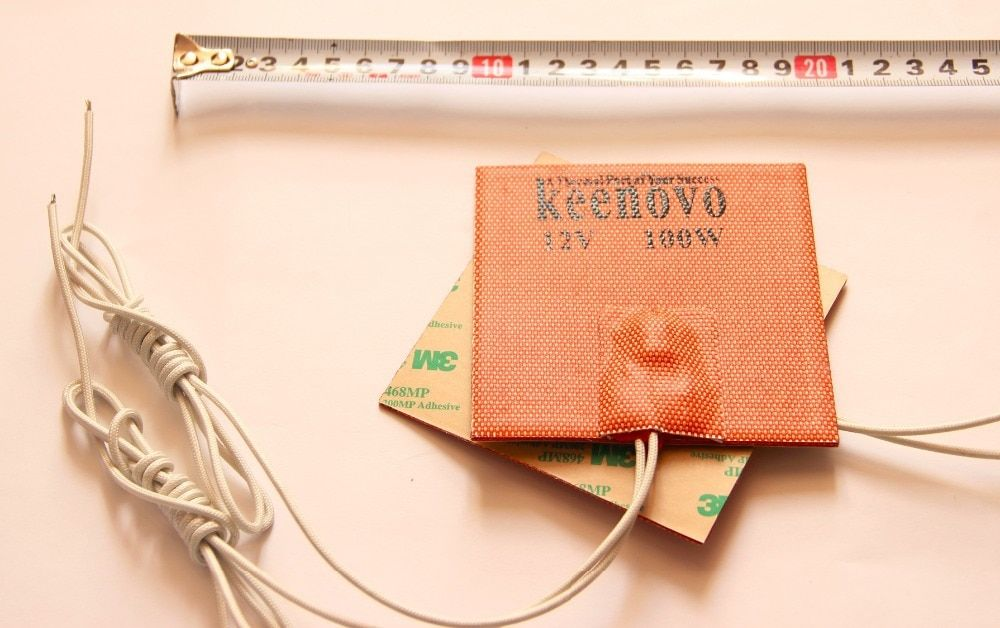 100x100 мм 100W @ 12 В, w/80 град с термостатом, keenovo универсальный гибкая силиконовая Нагреватель Коврики/PAD/элемент Машинное масло Пан нагреватель