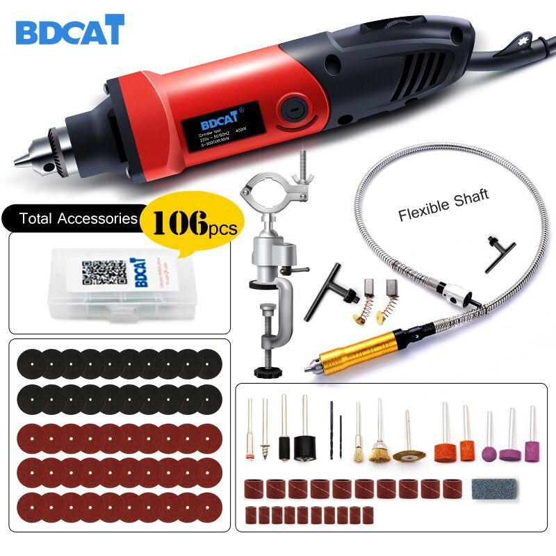 BDCAT 400 W Mini perceuse graveur outil Rotatif Électrique Mini Angle Grinder Dremel Outil avec 0.6-6.5mm arbre flexible et accessoires