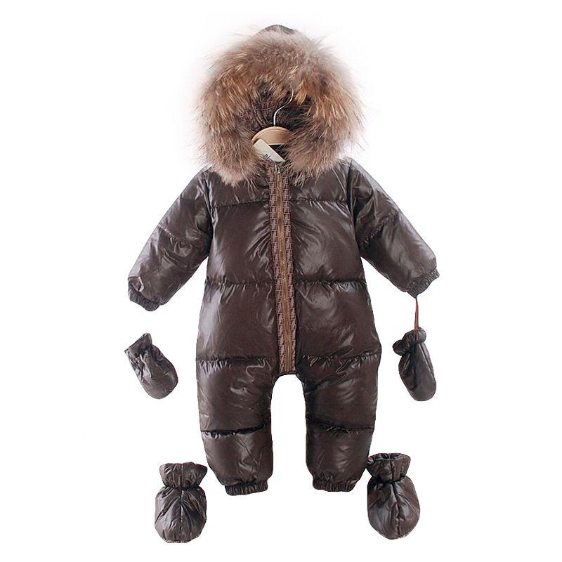 2017 rusia invierno natural fur ropa de los mamelucos del bebé recién nacido mono de bebé gruesa ropa de abrigo cálido niñas trajes para la nieve