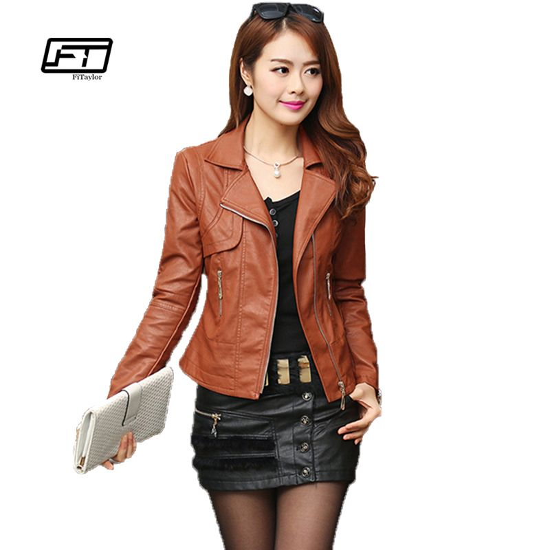 Fashion Autumn Women Pu Leather Jacket Slim <font><b>Motor</b></font> Outwear Coat Zippers Roupas De Couro Femininos Plus Size 4XL Elegant Punk Coat