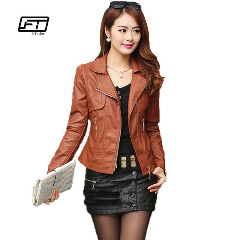 Fashion Autumn Women Pu Leather <font><b>Jacket</b></font> Slim Motor Outwear Coat Zippers Roupas De Couro Femininos Plus Size 4XL Elegant Punk Coat