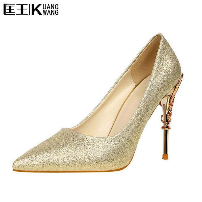 Women Pumps Heels Sexy High Heels Shoes Women Wedding Shoes Pumps 2017 Ladies Shoes Gold Silver Woman Thin Heel High Heel Shoes