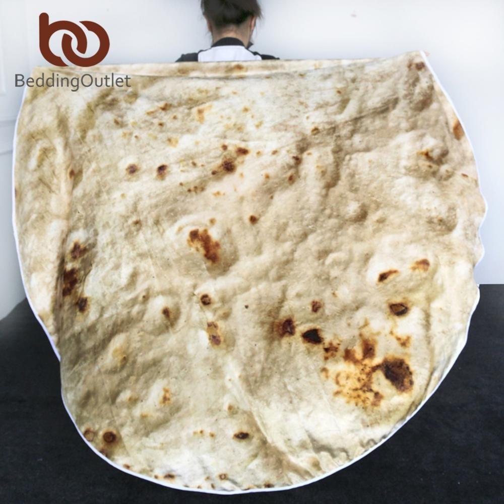 BeddingOutlet Mexican Burrito Blanket 3D Corn Tortilla Flannel Blanket for Bed Fleece Throw Funny Plush Bedspreads wholesale