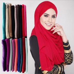 Muslim Jersey Scarf Plain Cotton Head Wrap Turban Solid Maxi Abaya  Kaftan Instant Hijab Arab Islamic Long Loop Shawls Scarves