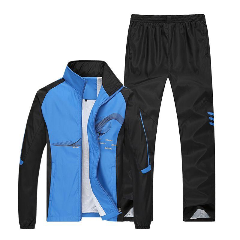 AmberHeard 2018 Spring Brand Tracksuit Men <font><b>Sportswear</b></font> Jacket+Pant Sweatsuit Two Piece Set Mens Sweatshirt Sporting Suit Clothing