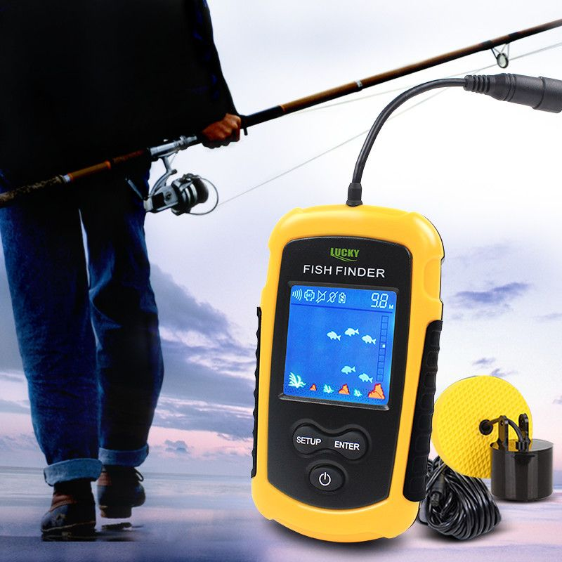 Lucky Fish Finders Alarm 100M Portable Sonar Wired LCD Fish depth Finder Echo Sounder Electronic Fishing Tackle FFC1108-1#b4