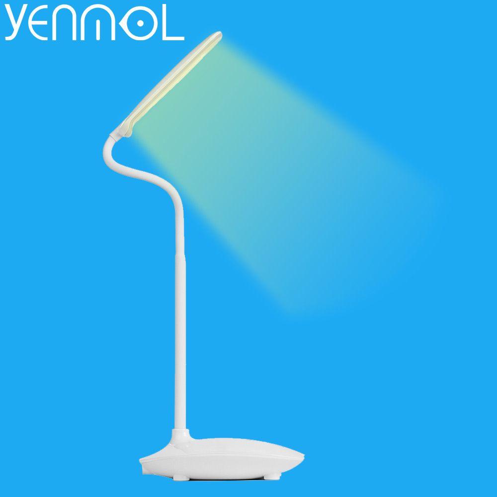 Yenmol лампа для чтения USB LED Настольные лампы Перезаряжаемые Настольные компьютеры лампа Touch Сенсор затемнения световой стол для детей светод...