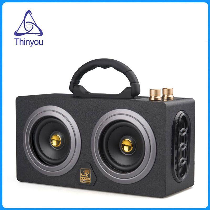 Thinyou деревянный Портативный Беспроводной bluetooth динамик 10 Вт * 2 Hi-Fi Dual громкоговорители звук Усилители домашние музыкальный центр сабвуфер