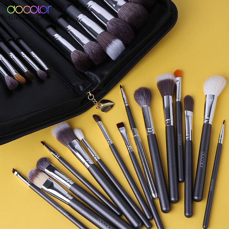 Docolor 29 PCS Maquillage Brosses Ensemble De Chèvre Brosse À Cheveux Poils de poney Synthétique Cheveux Fondation Poudre Cosmétique Make Up Brosse Avec PU Sac