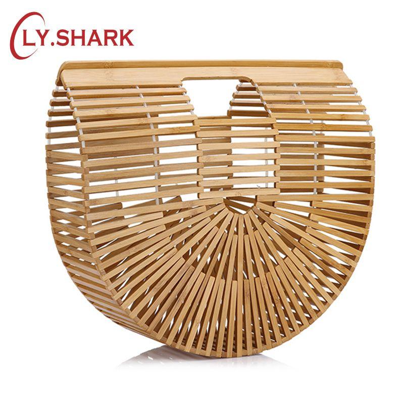 LY.SHARK Ladies Beach Bag Fashion Ladies Bamboo Bags Women's Bamboo Handbag Summer Female Purse Handmade Woven Beach Bag