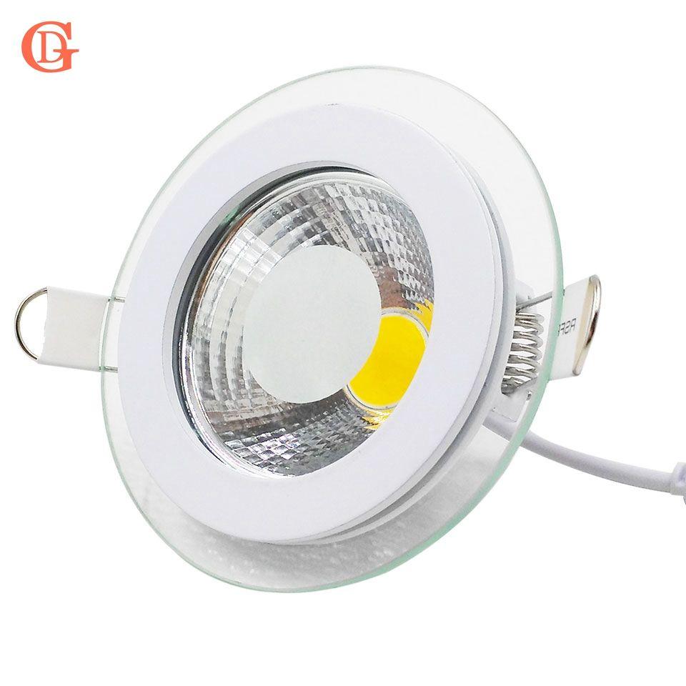 LED Downlight COB Dimmable 7 w 10 w 12 w 15 w 20 w 30 w LED COB Panneau Lumineux AC85-265V Encastré COB Downlight Couvercle En Verre LED Spot ampoule
