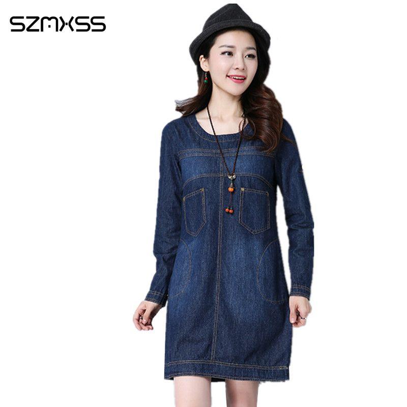 2017 New Fashion Women Jeans Denim Dress Korean Style Long-Sleeved Cowboy Tide Female Plus Size Dress Sexy Casual Office Jeans