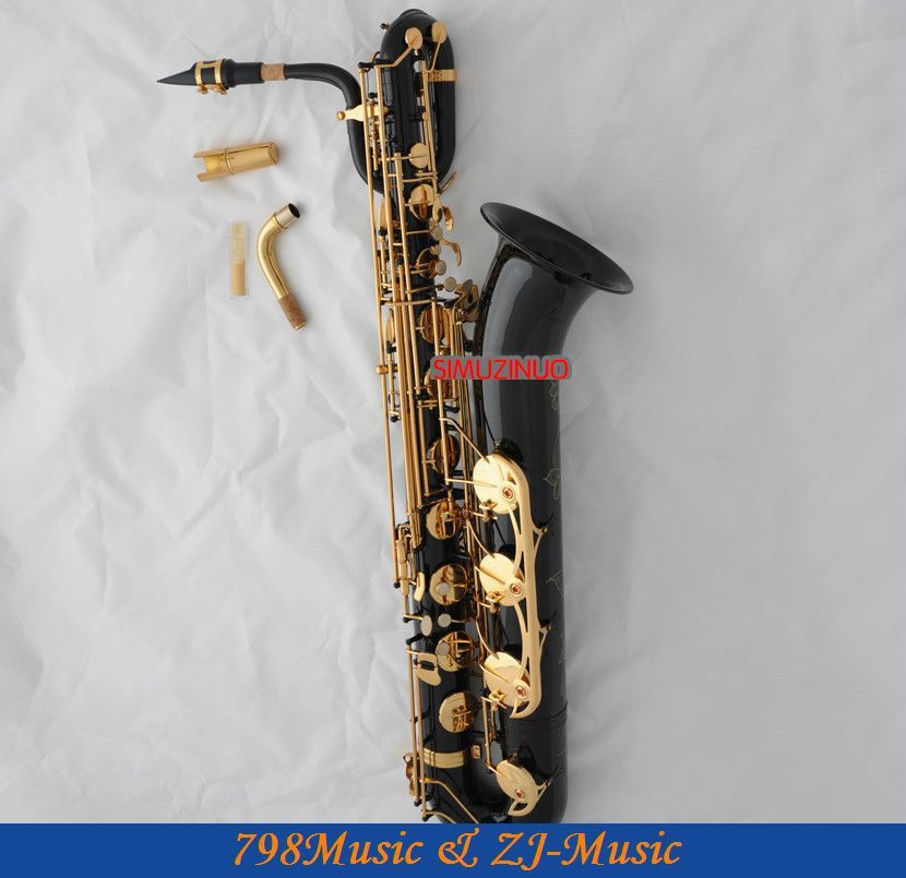 Support Professional Black and Lacquer Gold Baritone Saxophone Sax High F# W/Leather Case