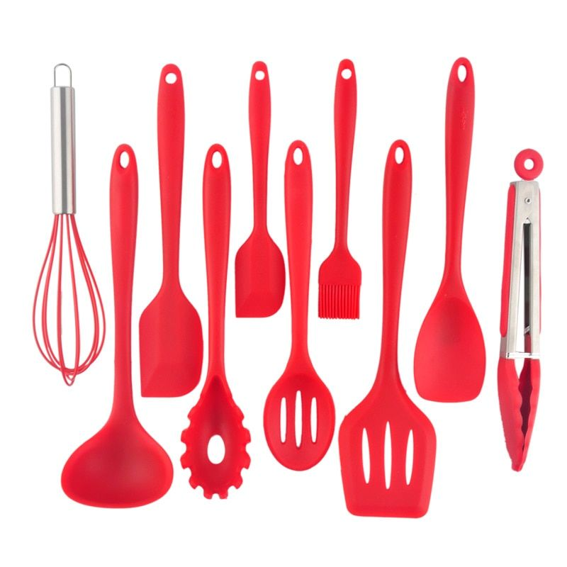 10Pc Heat Resistant Silicone Cookware Set Nonstick Cooking Tools Kitchen & Baking Tool Kit Utensils Spoon Turner Accessories