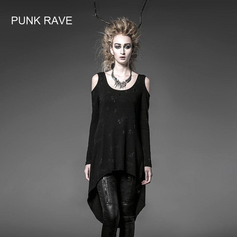Punk Rave Gothic Sommer Rock Schwarz Visuelle Kei damenmode Lange Strickjacke T-shirt Top free size PT025
