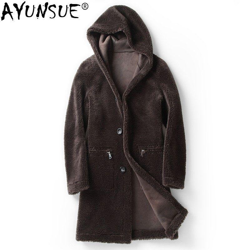 AYUNSUE 100% Wool Coat Winter Jacket Men Sheep Shearling Fur Coats Double-side Wear Leather Jackets 4xl 5xl Veste Homme MY1261