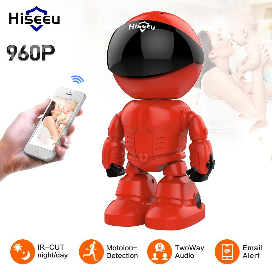 Hiseeu Wireless Robot IP Camera 960P WIFI CCTV HD Baby Monitor Remote Control Home Security camera network wi-fi two way audio