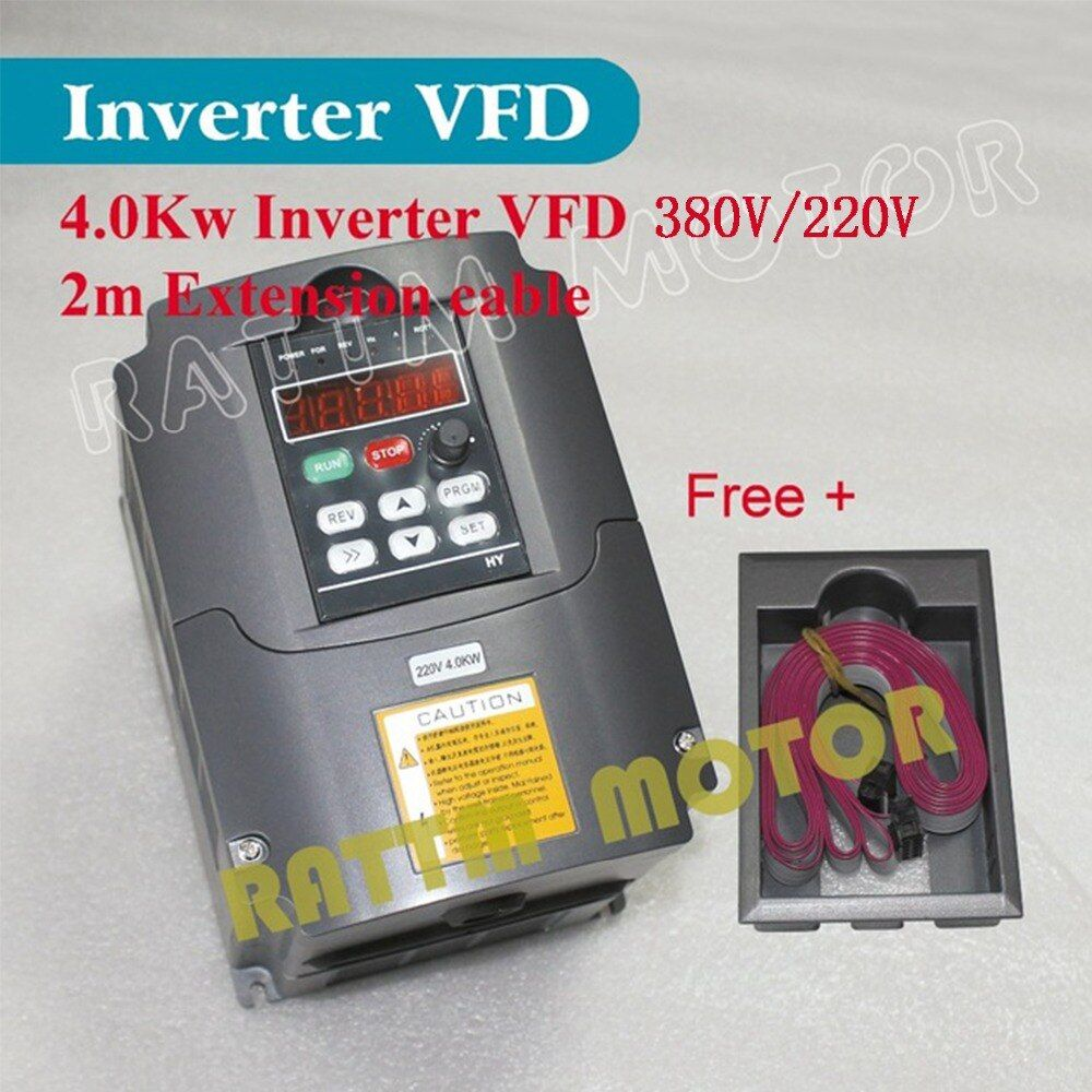 EU/RU Delivery!!4KW 220V/380V Variable Frequency Drive VFD Inverter 5HP 18A Speed controller for Spindle Motor with 2m cable
