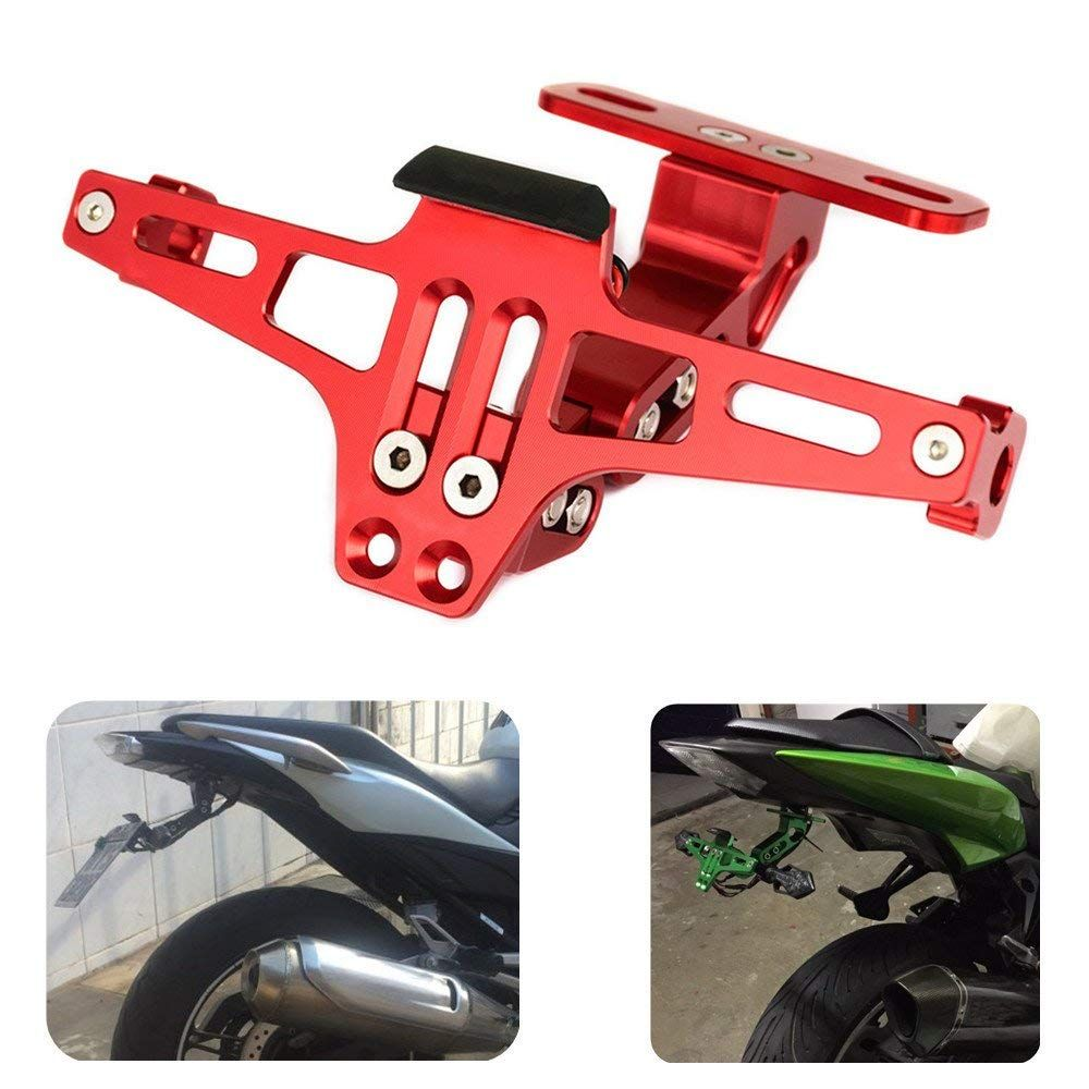 KEMiMOTO Universal CNC Aluminum Motorcycle Rear License Plate Mount Holder For Honda For Kawasaki Z750 R3 Z800 R6 MT07 MT09 MT10
