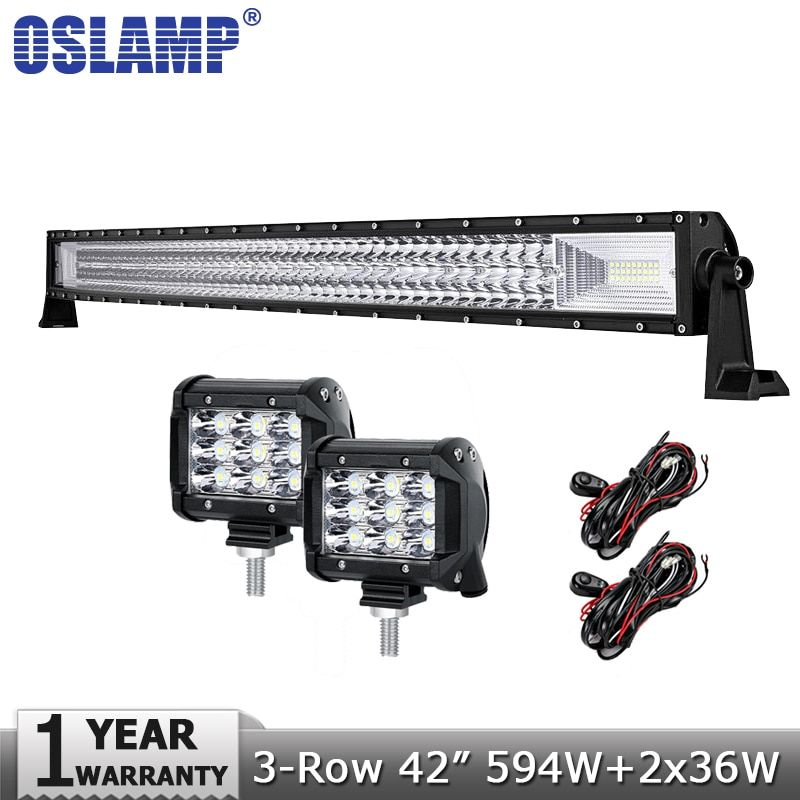 Oslamp 42inch 594W 3-Row Curved LED Offroad Light Bar Combo Truck SUV ATV 4WD 4x4+2x36W Spot Flood Beam Led Work Lights 12v 24v