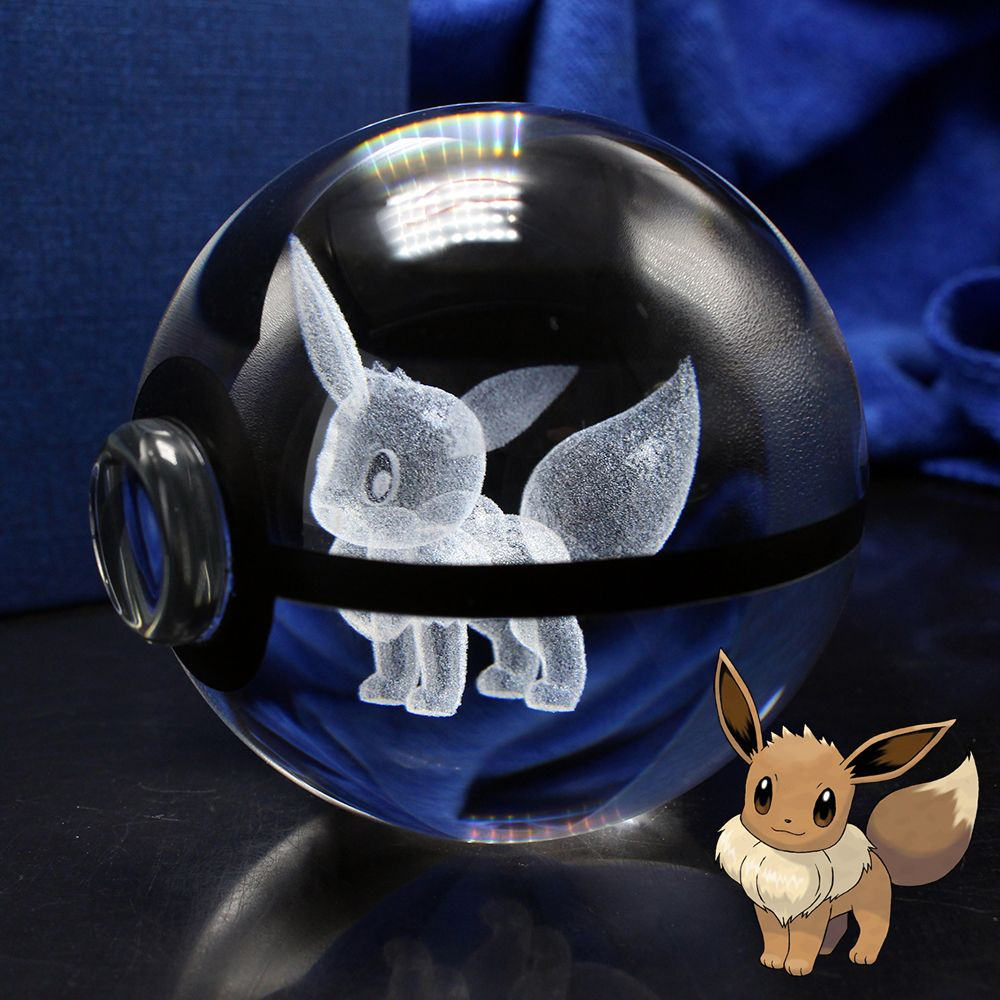 3D Laser Pokemon Go Crystal Eevee Sculpture <font><b>Ball</b></font> With Led Light Base for Cartoon Souvenirs