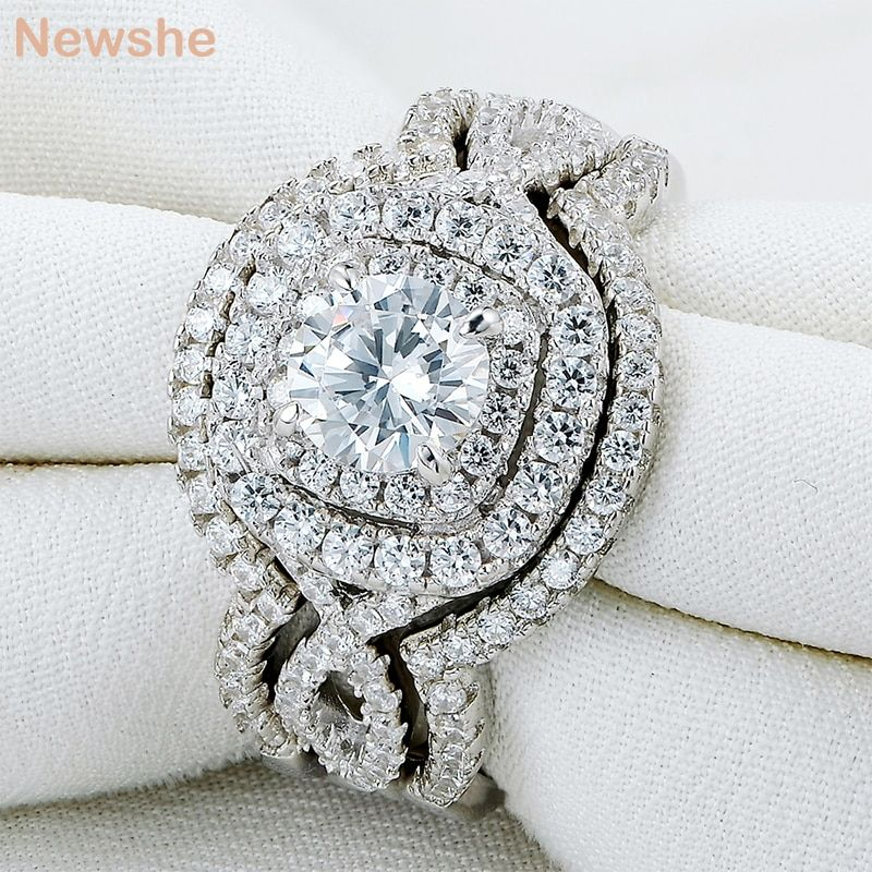 Newshe 3Pcs 925 Sterling Silver Wedding Rings For Women 2.1Ct AAA CZ Engagement Ring Set Classic Jewelry Size 5 6 7 8 9 10