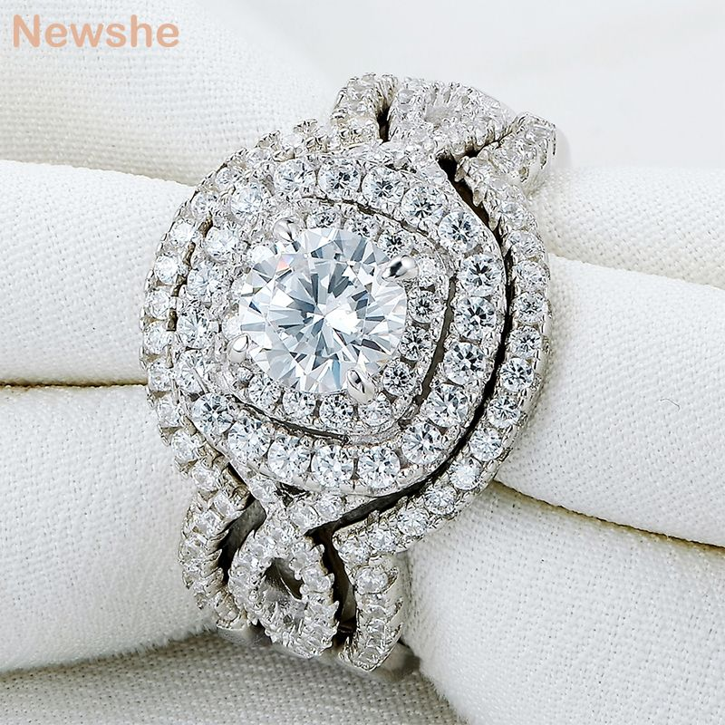 Newshe 3Pcs Solid 925 Sterling Silver Wedding Ring Sets 2.1Ct AAA CZ Engagement Band Gift Jewelry For Women Size 5 6 7 8 9 10