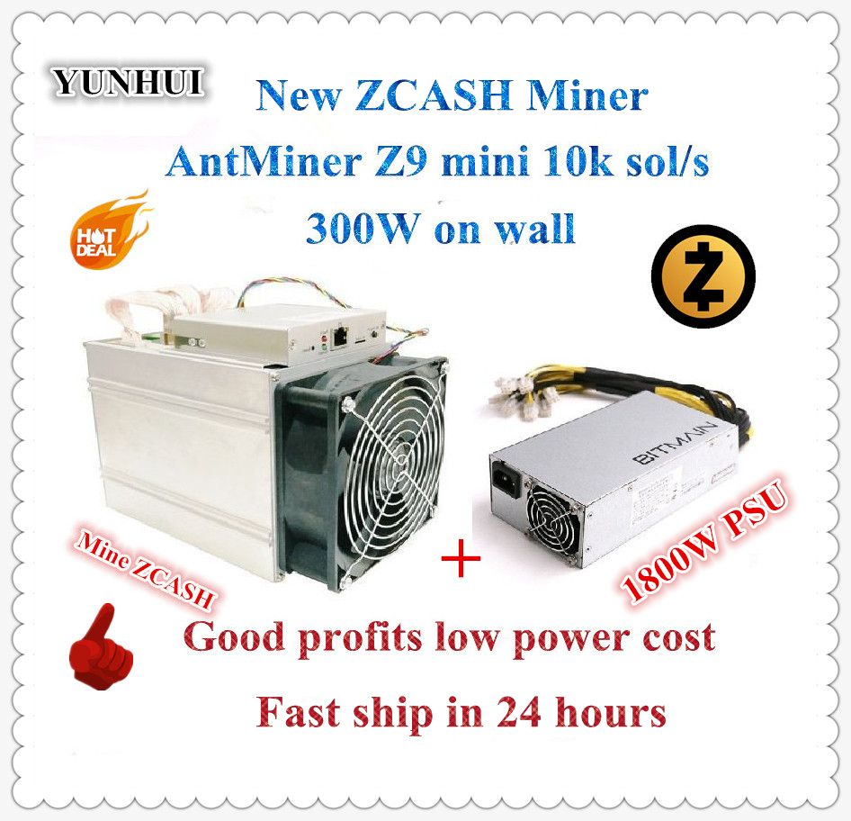 Ship in 24 hours ZCASH Miner Antminer Z9 Mini 10k Sol/s 300W With Bitmain APW7 1800W PSU Good Profit better than A9 S9 to 14k