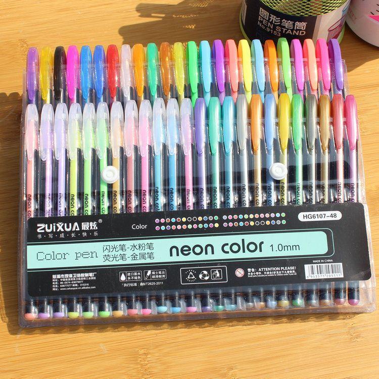 48 Цвета комплект Цветной гелевая ручка читая флэш-перо милый блеск Цвет ручки школа рисования стационарных stylos дети Цвет ING подарки