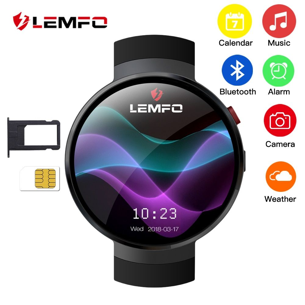 LEMFO LEM7 Smart Watch Android 7.0 LTE 4G Sim 2MP Camera GPS WIFI Heart Rate 1GB + 16GB Memory with Camera Smartwatch for Men