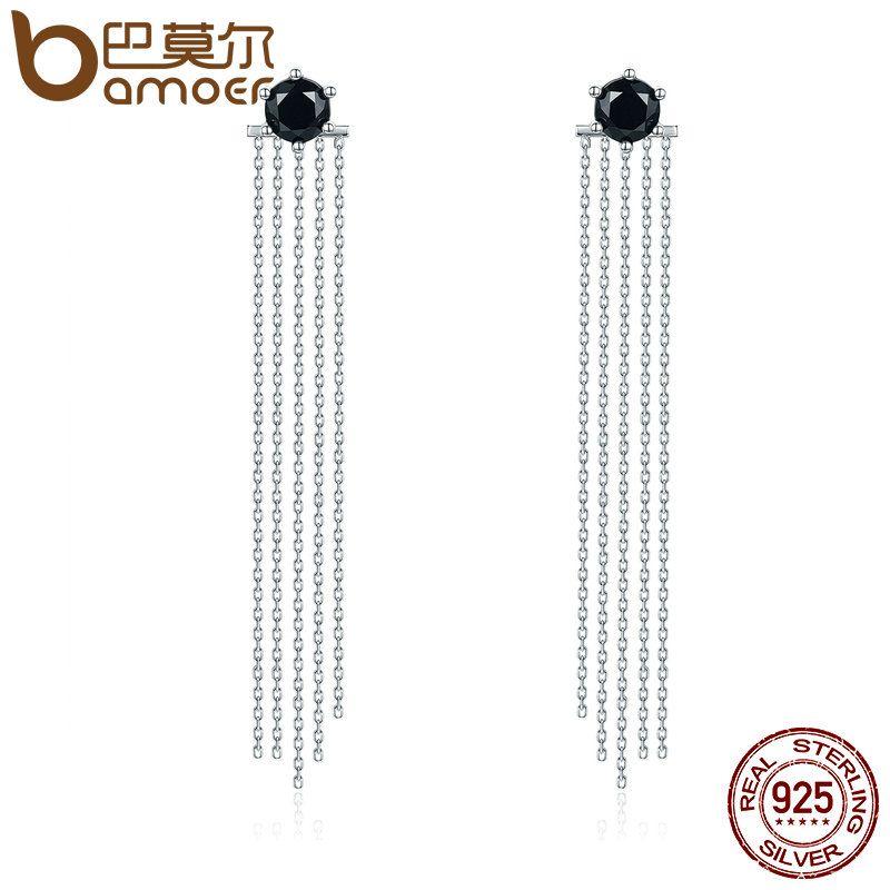 BAMOER Vintage 925 Sterling Silver Double Sided Black CZ Tassel Ears Jacket Dangle Drop Earrings Femme Brincos Jewelry SCE055