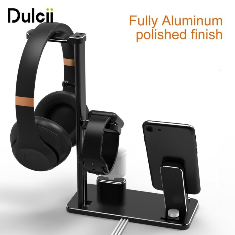 DULCII Multi-functional Charging Stand Holder Headphone Holder Phone Holders for Apple iWatch AirPods iPhone iPad Desktop Mounts