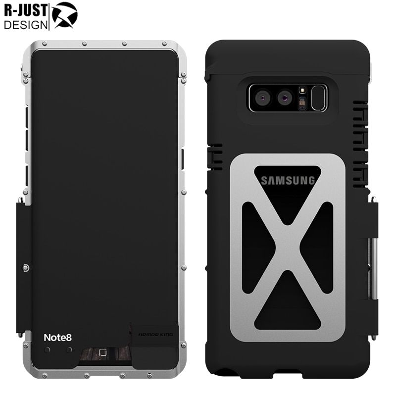 Note 8 Case Original R-Just For Samsung Galaxy note 8 Case Flip Cover Armor Aluminum Metal Shockproof Phone Cover Capa Coque
