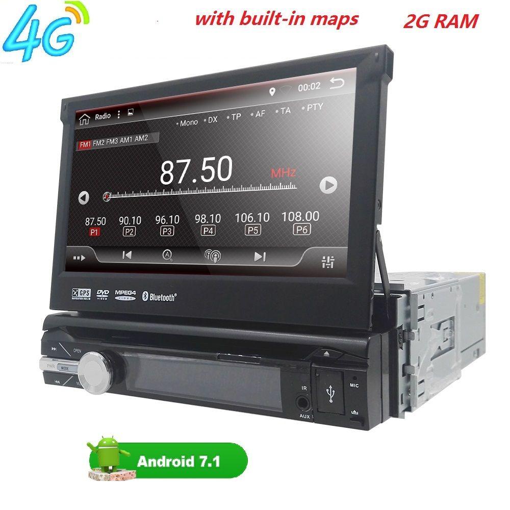 2GB RAM single 1din 7inch touchscreen 4G WIFI Android 7.1 Car GPS FM Radio Stereo head unit Media Player BT USB SD RDS SWC DAB+