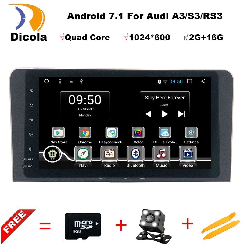 HD 1024*600 8 inch Quad Core Android 7.1 Aluminum alloy panel car dvd gps player For Audi A3 S3 2003-2013 car radio multimedia