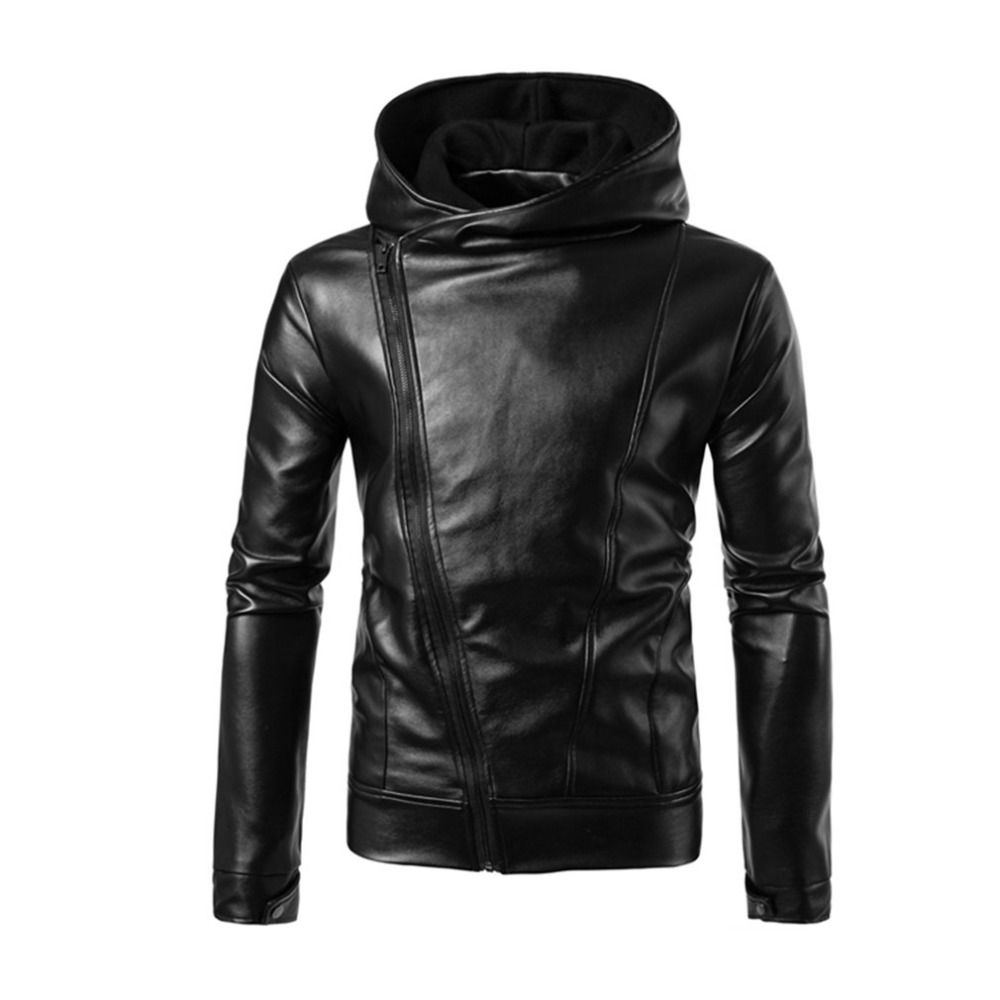 2017 Punk Style Fashion Black Leather Jacket Hoodie Zipper Type Men Casual Slim Fit Motorcycle Jacket Plus Size Male Hooded Coat