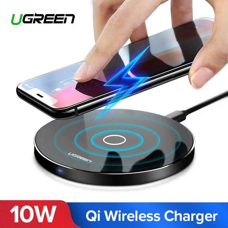 Ugreen Wireless Charger for <font><b>iPhone</b></font> X 8 XS 10W USB Wireless Charging for Samsung Galaxy S8 S9 S7 Edge Qi USB Wireless Charger