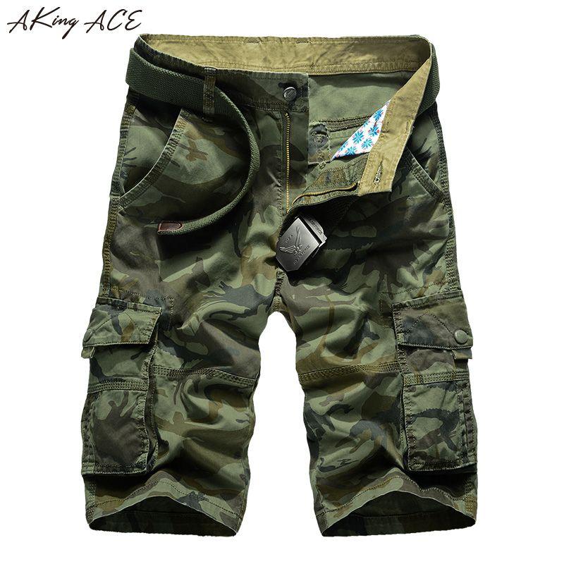 AKing ACE Millitary Armée Camouflage Shorts Hommes Militar Camo Court pantalon Hommes Shorts Cargo pour les Hommes Plus La Taille 42 44, ZA292