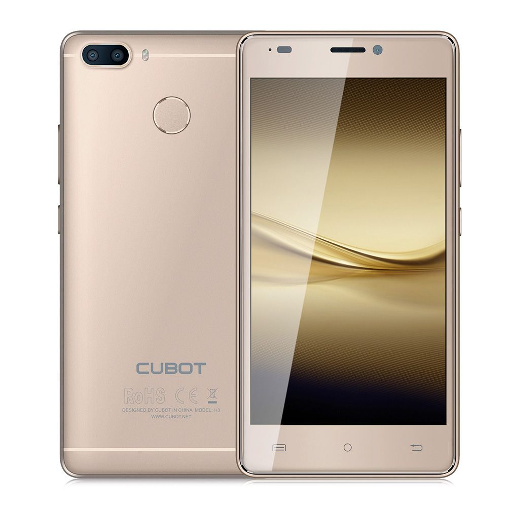 CUBOT H3 4G Smartphone 5.0 Inch Android 7.0 MTK6737 1.3GHz Quad Core 3GB RAM 32GB ROM 6000mAh Battery 13.0MP 0.3MP Rear Cameras