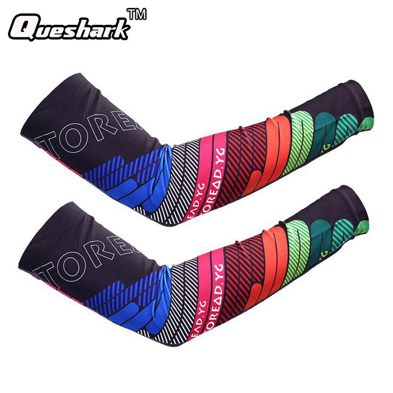 Rainbow Running Basketball Arm Sleeve Cuff Anti-UV Cycling Arm Warmers Riding Bike Bicycle Sleevelet Sport Elbow Pads Oversleeve