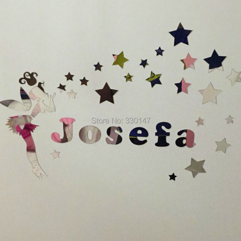 New Arrival Fairy Girl with Stars Surround Name Customization Wall Sticker Room Kid's Acrylic Mirror Surface Glistening Gift