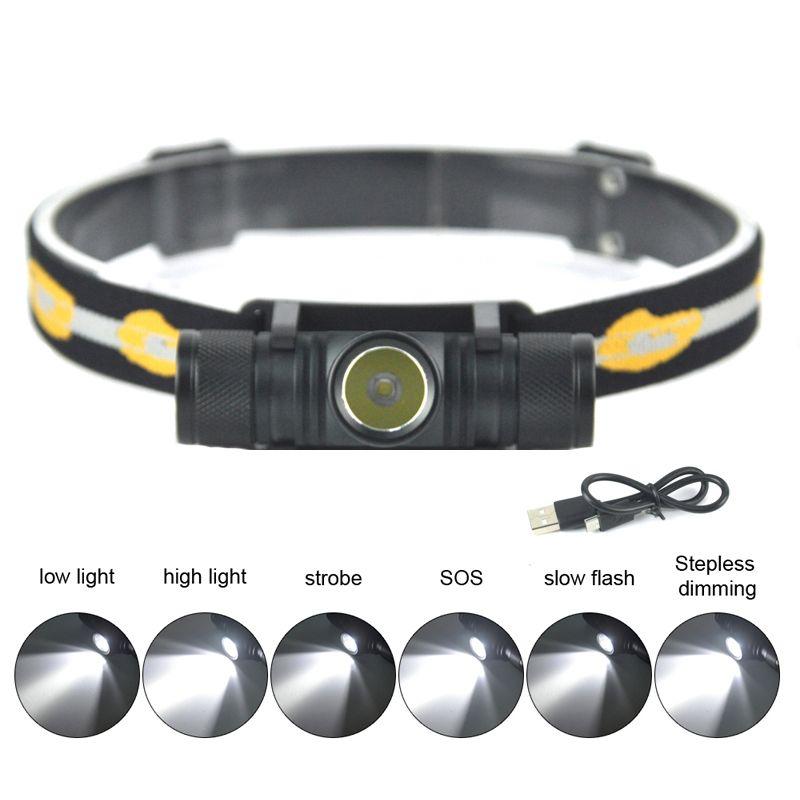 BORUiT D10 XM-L2 LED <font><b>Headlamp</b></font> USB Charging Interface Cycling Headlight 4-Mode Dimming Head Torch Camping Fishing Flashlight