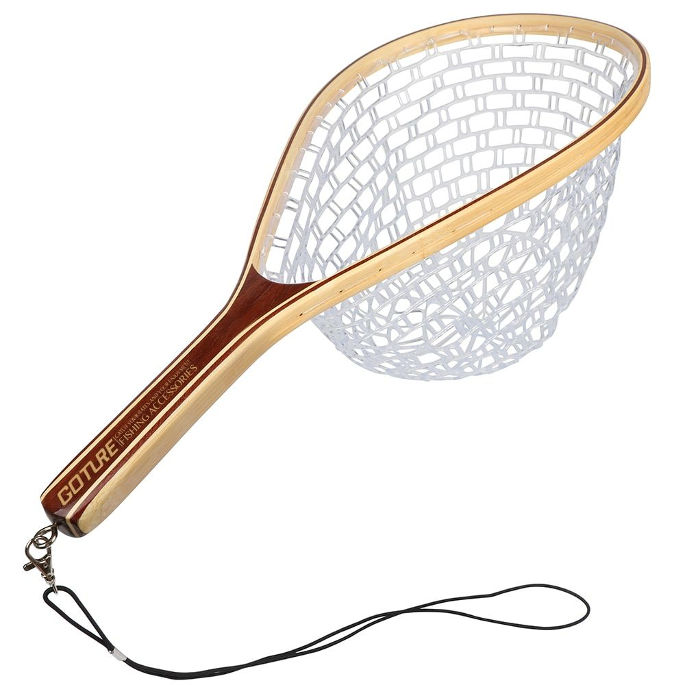 Goture rubber fishing net landing net bamboo and wooden frame hand net fishing tackle