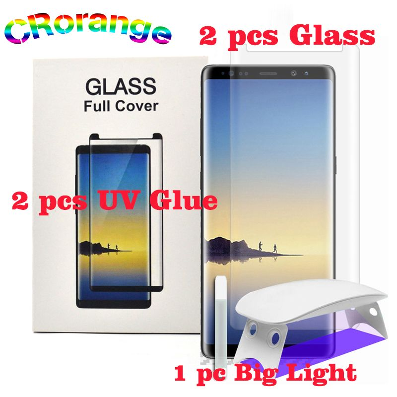2pcs Full Glue UV Liquid Glass for Galaxy Note 8 S8 S9 Plus S6 S7 Edge UV Light Liquid Glue For Samsung Note 9 Screen Protector