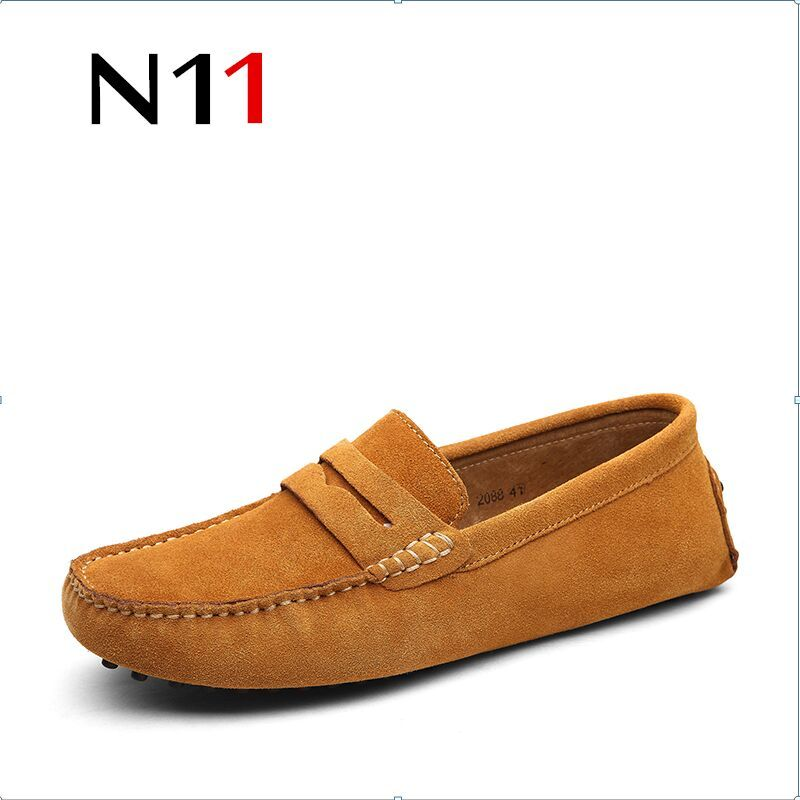 N11 brand 2018 men's high quality tide shoes suede casual shoes fashion British driving casual shoes wild shoes large size