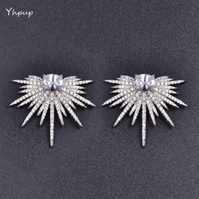 Mchic Full Luxury AAA+ Tiny Cubic Zirconia Sparking Sun Flowers CZ Stud Earrings Exquisite Women Brand Wedding Earring Brincos