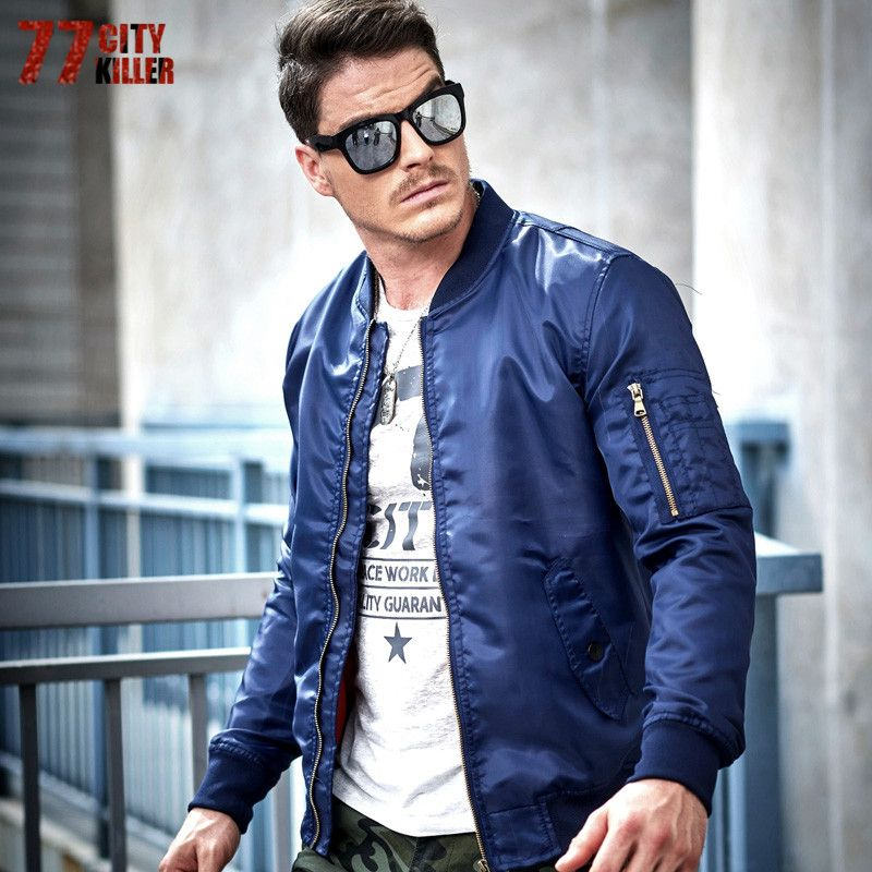 77City Killer Mens Flight Jackets Spring Autumn Windproof Solid Air Force Jacket Long Sleeve Zipper Casual Pilot Coats J2782