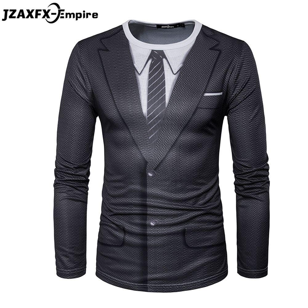 2018 date hommes à manches longues T-Shirt O cou mâle imprimer faux costume T-Shirt haute qualité T-Shirt hommes marque vêtements