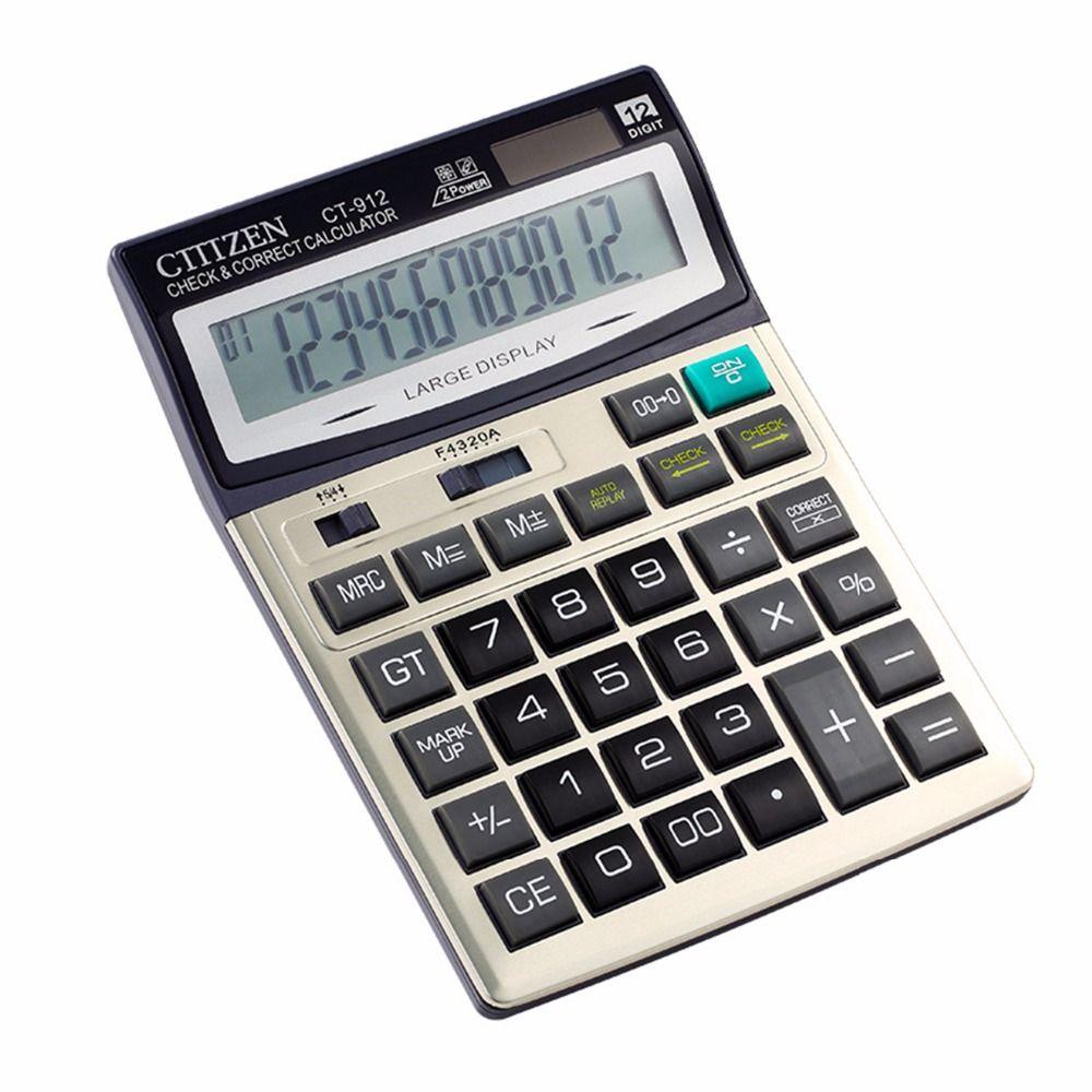 Gros Boutons Bureau Calculatrice Grand Ordinateur Touches CT-912 Muti-fonction Ordinateur Batterie Calculatrice